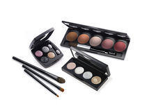 Cosmetic palettes and brushes Stock Image
