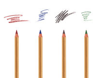 Cosmetic pencils with sample strokes Stock Images