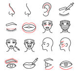 Cosmetic plastic face surgery vector thin line icons set Royalty Free Stock Images