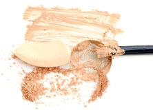 Cosmetic powder and beige foundation in box with blush.  Royalty Free Stock Images