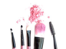 Cosmetic powder brush circle box and crushed blush palette isolated on white. Royalty Free Stock Photography