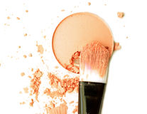 Cosmetic powder brush circle box and crushed blush palette isolated on white Royalty Free Stock Photography