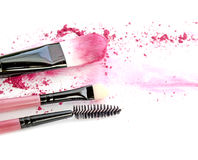 Cosmetic powder brush circle box and crushed blush palette isolated on white. Stock Image