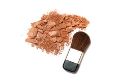 Cosmetic powder brush and crushed blush palette. Cosmetic powder brush and crushed blush or foundation face powder palette isolated on white Stock Photography