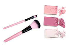 Cosmetic powder brush and crushed blush palette isolated on white. Royalty Free Stock Image