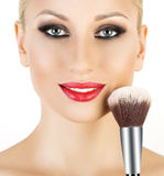 Cosmetic Powder Brush for Make up. Royalty Free Stock Photography