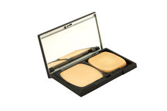 Cosmetic Powder Compact. Isolate on white with cliping mask stock photography