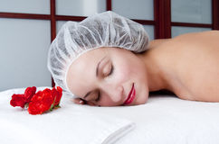 Cosmetic procedures in spa salon Royalty Free Stock Image
