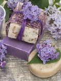Cosmetic product with lilac flowers, fresh as spring concept Stock Images
