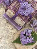 Cosmetic product with lilac flowers, fresh as spring concept Royalty Free Stock Photo