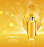Cosmetic Product with Oil, Abstract Orange Template Royalty Free Stock Images