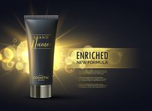 Cosmetic product packaging design concept for premium brand in d. Ark gold bokeh background Stock Photo