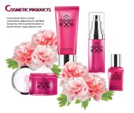 Cosmetic product pink color and Chinese flower stock images