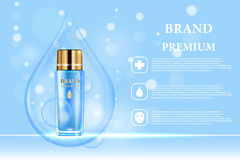 Cosmetic products ad. Vector 3d illustration. Skin care bottle template design. Face and body make up cream and lotion.  Stock Images
