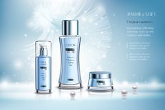 Cosmetic Products Advertising Composition. Cosmetic products including lotion, milk cream advertising composition on blue background with pearls and feather Stock Photo