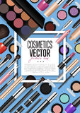 Cosmetic Products Assortment Realism Vector Banner Stock Photo