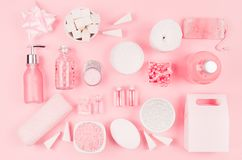 Cosmetic products for bathroom, health and hygiene in modern girlish style - decorative heart, soap, bath salt, essential oil. stock images