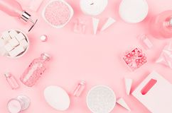 Cosmetic products for bathroom, health and hygiene in modern girlish style - decorative heart, soap, bath salt, essential oil. stock image