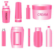 Cosmetic products. Beauty cosmetic product containers set Royalty Free Stock Image