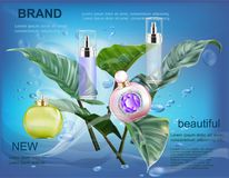 Cosmetic  products on blue water with leaf. On ads publication Stock Photo