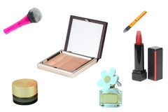 Cosmetic products. Collage Set or collection of cosmetic and beauty products isolated on a white background. Woman accessories stock photo