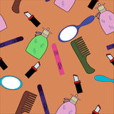 Cosmetic products doodles collection stock photo