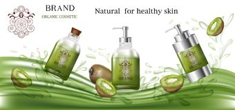 Cosmetic products green color with kiwi for organic Stock Images