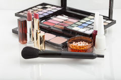 Cosmetic products for makeup Stock Images