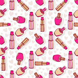 Cosmetic products pattern. Lipsticks and nail Stock Photo