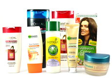 Cosmetic products for skin  and hair care from global brands Biotique Royalty Free Stock Photos