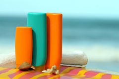Cosmetic products for sun protection Stock Images