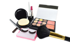 Cosmetic products on white background. Royalty Free Stock Image