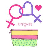 Cosmetic purse and feminist lesbian symbol Stock Images