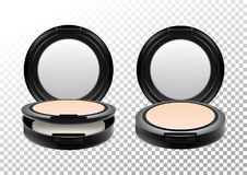 Cosmetic realistic plastic black compact mineral powder. Cosmetic beauty make up product package template,vector Royalty Free Stock Photos