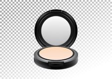 Cosmetic realistic plastic black compact mineral powder. Cosmetic beauty make up product package template,vector Royalty Free Stock Photography