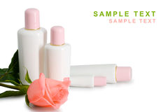 Cosmetic and rose Stock Photos