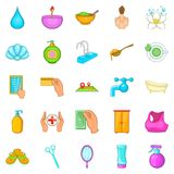 Cosmetic salon icons set, cartoon style Royalty Free Stock Photo