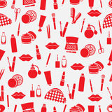 Cosmetic seamless pattern, accessories background. Red  products on white  Stock Image