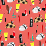 Cosmetic seamless pattern, fashion accessories background. Nail polish, makeup, hair styling, spray, cream, comb, scissors,  stick Royalty Free Stock Images