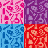 Cosmetic seamless patterns Stock Photos