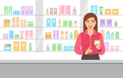 Cosmetic seller offering face cream in beauty shop Stock Photo