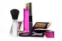 Cosmetic set. Mascara, blush, perfume, eye shadows Royalty Free Stock Images