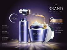 Cosmetic set ads. Purple cream container and droplet bottle on glowing background in 3d illustration royalty free illustration