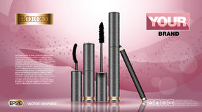 Cosmetic set ads template, mascara and brow s gel collection cover mockup. Pink background fragrance. Dazzling effect. Cosmetic set ads template, mascara and Stock Photography