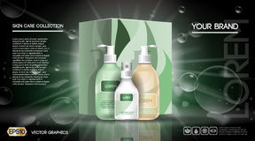 Cosmetic set ads template, moisturizing lotions collection cover mockup. Dazzling effect and bubbles background. Green Stock Photography