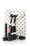Cosmetic set and bag Royalty Free Stock Image