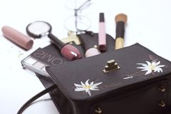 Cosmetic set: glass, eyeshadow, nail polish, brush, handbag, mascara and lip gloss royalty free stock photos