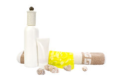 Cosmetic set with hand-made soap and towel Stock Photo