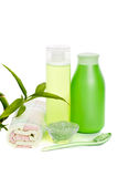 Cosmetic set and herbal salt Royalty Free Stock Photo