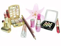 Cosmetic set for makeup Stock Images